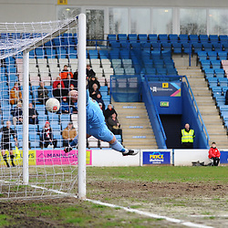 TELFORD COPYRIGHT MIKE SHERIDAN GOAL. Brendon Daniels of Telford scores to make it 1-0 during the Vanarama Conference North fixture between AFC Telford United and Altrincham at The New Bucks Head on Saturday, February 1, 2020.<br /> <br /> Picture credit: Mike Sheridan/Ultrapress<br /> <br /> MS201920-044