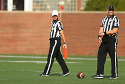 29 October 2016:  Referee Rich Edwards and Umpire Edward Laco. NCAA FCS Football game between South Dakota State Jackrabbits and Illinois State Redbirds at Hancock Stadium in Normal IL (Photo by Alan Look)
