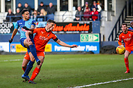 Wycombe Wanderers forward Nathan Tyson shoots towards the goal during the EFL Sky Bet League 1 match between Luton Town and Wycombe Wanderers at Kenilworth Road, Luton, England on 9 February 2019.