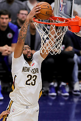 October 23, 2018 - New Orleans, LA, U.S. - fNEW ORLEANS, LA - OCTOBER 23:  New Orleans Pelicans forward Anthony Davis (23) dunks the ball against LA Clippers on October 23, 2018, at Smoothie King Center in New Orleans, LA. (Photo by Stephen Lew/Icon Sportswire) (Credit Image: © Stephen Lew/Icon SMI via ZUMA Press)