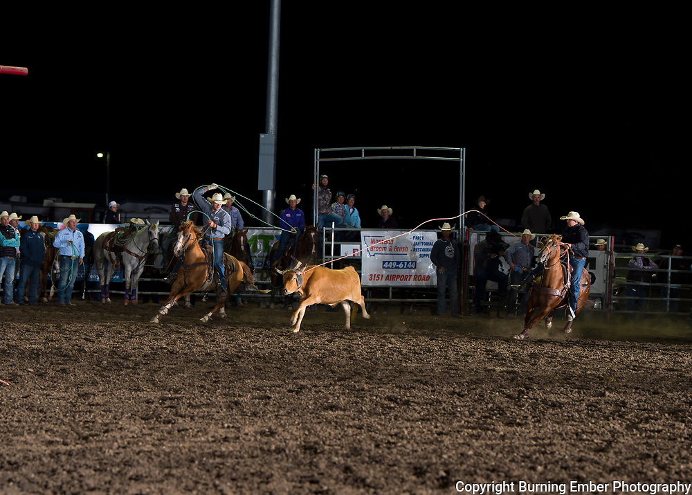 Brady Tryan and Kasper Roy in the Team Roping event at the Last Chance Stampede Slack in Helena MT July 26th, 2018.  Photo by Josh Homer/Burning Ember Photography.  Photo credit must be given on all uses.