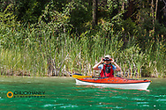 Birding with binoculars in a kayak on Beaver Lake near Whitefish, Montana, USA model released