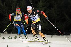 28.12.2013, Veltins Arena, Gelsenkirchen, GER, IBU Biathlon, Biathlon World Team Challenge 2013, im Bild Andrea Henkel (Deutschland / Germany) mit Ekaterina Yurlova (Russland / Russia) // during the IBU Biathlon World Team Challenge 2013 at the Veltins Arena in Gelsenkirchen, Germany on 2013/12/28. EXPA Pictures © 2013, PhotoCredit: EXPA/ Eibner-Pressefoto/ Schueler<br /> <br /> *****ATTENTION - OUT of GER*****