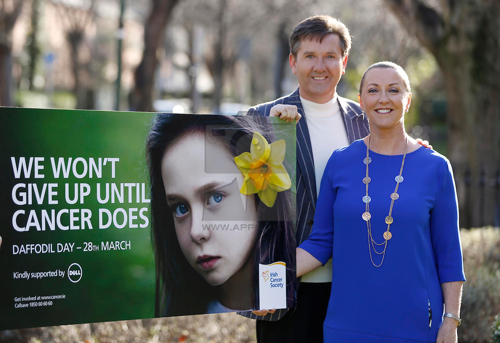 Repro Free: 07/02/2014 We won't give up until cancer does.<br /> Majella & Daniel O'Donnell are pictured at the launch the Irish Cancer Society's 27th Daffodil Day. Daffodil Day, supported by Dell, takes place on Friday 28th March. To get involved, Callsave 1850 60 60 60 or visit www.cancer.ie/daffodilday Picture Andres Poveda