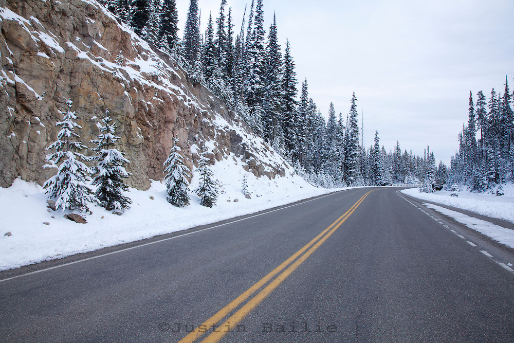 Scenic winter image of road going through in Yellowstone National Park, WY.