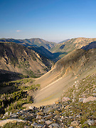 Looking down the Rock Creek Valley from above treeline, Absaroka-Beartooth Wilderness, Custer National Forest, Montana