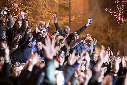 © Licensed to London News Pictures . 31/12/2016 . Manchester , UK . Thousands gather as Manchester celebrates the start of 2017 , with a fireworks display in front of the Town Hall in Albert Square . Photo credit : Joel Goodman/LNP