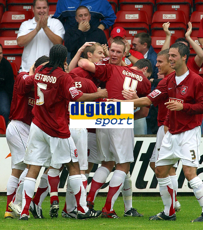Photo: Dave Linney.<br />Walsall v Darlington. Coca Cola League 2. Coca Cola League 2. 26/08/2006.Walsall's Martin Butler(C) makes it 1-0 to Walsall