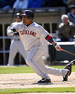 CHICAGO - APRIL 09:  Juan Uribe #4 of the Cleveland Indians bats against the Chicago White Sox on April 9, 2016 at U.S. Cellular Field in Chicago, Illinois.  The White Sox defeated the Indians 7-3.  (Photo by Ron Vesely)  Subject: Juan Uribe