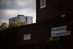 © Licensed to London News Pictures . 11/10/2018. Salford , UK . GV of Thorn Court . Recently installed cladding at several council-owned tower blocks in Salford has been identified as having similar dangerous properties to that which was installed on the Grenfell Tower in London . Residents have been waiting months for clarification on what action will be taken to make their homes safe . Photo credit : Joel Goodman/LNP