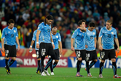 Andres Scotti of Uruguay, Sebastian Abreu of Uruguay, Nicolas Lodeiro of Uruguay, Maximiliano Pereira of Uruguay, Diego Perez of Uruguay before penalty shots  at 2010 FIFA World Cup South Africa Quarter Finals football match between Uruguay and Ghana on July 02, 2010 at Soccer City Stadium in Sowetto, suburb of Johannesburg. Uruguay defeated Ghana after penalty shots. (Photo by Vid Ponikvar / Sportida)