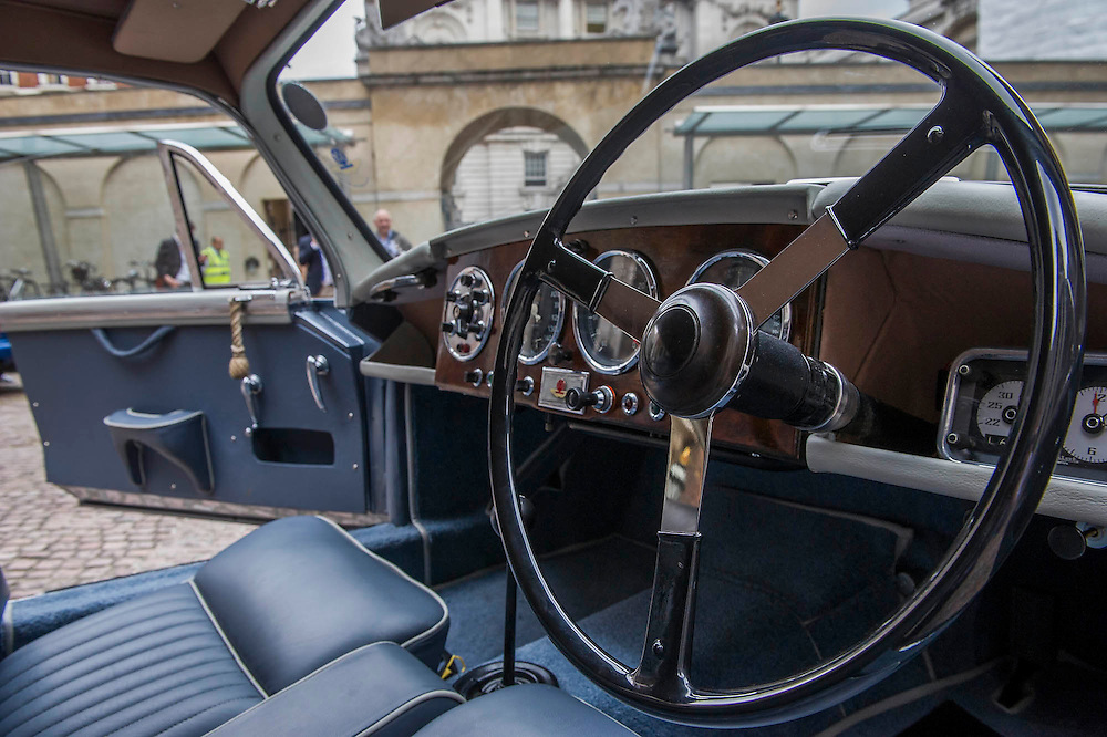 An Aston Martin DB 2/4, which is understood to have been Ian Fleming's inspiration for James Bond's Aston Martin in the original novel Goldfinger. It was recently discovered and is displayed by international auctioneers Coys.<br /> The Old Admiralty Building, Whitehall London