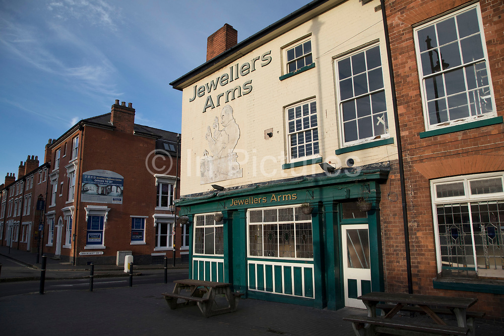 Jewellers Arms pub in the famous Jewellery Quarter in Birmingham, United Kingdom. The Jewellery Quarter is an area of Birmingham, England. Situated in the south of the Hockley area of the city centre. The Jewellery Quarter is Europes largest concentration of businesses involved in the jewellery trade, which produces 40% of all the jewellery made in the UK. It is also home to the worlds largest Assay Office, which hallmarks around 12 million items a year. Historically the Jewellery Quarter has been the birthplace of many pioneering advancements in industrial technology.