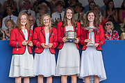 """Henley on Thames, United Kingdom, 8th July 2018, Sunday, Winners, """"The Diamond Jubliee Challenge Cup"""", """" Y Quad Cities Rowing Association, USA."""", """"Fifth day"""", of the annual,  """"Henley Royal Regatta"""", Henley Reach, River Thames, Thames Valley, England, © Peter SPURRIER,"""