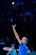 Roger Federer of Switzerland serves during the Nitto ATP World Tour Finals at the O2 Arena, London, United Kingdom on 11 November 2018. Photo by Martin Cole