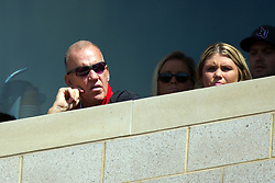 13 September 2014:  It's Family Day and ISU Alum, Olympic Great, NBA Star and ESPN Analyst Doug Collins drops by for the game and to check out the newly renovated east Grandstand at Hancock Stadium during an NCAA football game between the Eastern Illinois Panthers and the Illinois State Redbirds at Hancock Stadium in Normal IL