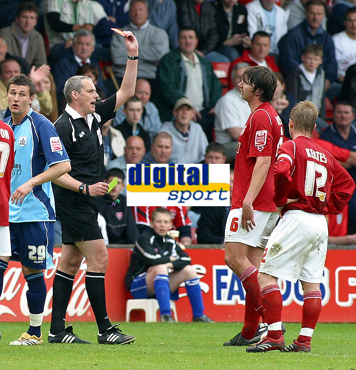 Photo: Dave Linney.<br />Walsall v Barnsley. Coca Cola League 1. 06/05/2006.<br />Walsall's Ian Rope is sent off after violent conduct