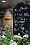 Independent artisan cheesemonger, Paxton And Whitfield Cheese on 7th October 2015 in London, United Kingdom. Paxton & Whitfield Cheese Shop was established in 1797 and is located on Jermyn Street, London