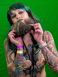 Sept.01, 2017 - Austin, Texas, U.S. -  Whiskerina competitor HOLLY HURRELMEYER acts in a short video presentation later played during her time onstage at the 2017 World Beard and Moustache Championships. The Whiskerinas are women who compete in either the realistic or creative facial hair categories.(Credit Image: © Brian Cahn via ZUMA Wire)