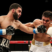 KISSIMMEE, FL - MARCH 05: Rafayel Simonyan (L) fights Abraham Tebes during the Boxeo Telemundo All Star Boxing event at Osceola Heritage Park on March 5, 2021 in Kissimmee, Florida. (Photo by Alex Menendez/Getty Images) *** Local Caption *** Rafayel Simonyan; Abraham Tebes