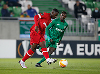 RAZGRAD, BULGARIA - OCTOBER 22: Martin Hongla of Antwerp passes the ball during the UEFA Europa League Group J stage match between PFC Ludogorets Razgrad and Royal Antwerp at Ludogorets Arena on October 22, 2020 in Razgrad, Bulgaria. (Photo by Nikola Krstic/MB Media)