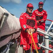 Leg 8 from Itajai to Newport, day 11 on board MAPFRE, Antonio Cuervas-Mons holding the main sheet, Blair Tuke at the helm. 02 May, 2018.