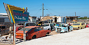 Old Cars and Trailers Parked at Bombay Beach Drive In