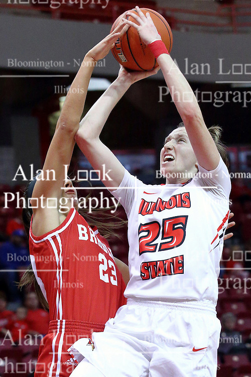 01 January 2017: Hannah Green draws a shooting foul from Leti Lerma during an NCAA Missouri Valley Conference Women's Basketball game between Illinois State University Redbirds the Braves of Bradley at Redbird Arena in Normal Illinois.
