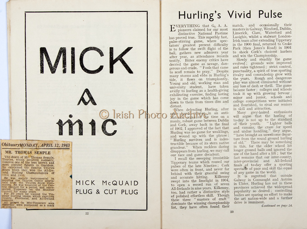 All Ireland Senior Hurling Championship Final,.Brochures,.05.09.1948, 09.05.1948, 5th September 1948, .Waterford 6-7, Dublin 4-2, .Minor Kilkenny v Waterford, .Senior Dublin v Waterford, .Croke Park, ..Advertisements, Mick McQuaid Plug & Cut Plug, ..Articles, Obituary Mr Thomas Semple, Hurling's Vivid Pulse,