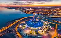 Aerial view of Saint Petersburg Stadium during the night, Russia