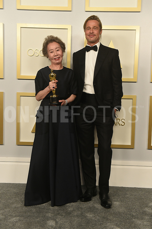 """THE OSCARS® - The 93rd Oscars will be held on Sunday, April 25, 2021, at Union Station Los Angeles and the Dolby® Theatre at Hollywood & Highland Center® in Hollywood, and international locations via satellite. """"The Oscars"""" will be televised live on ABC at 8 p.m. EDT/5 p.m. PDT and in more than 200 territories worldwide. (ABC)<br /> YUH-JUNG YOUN, BRAD PITT"""