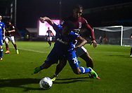 Daniel Powell of Northampton Town (r)  battles with Nathan Thompson of Portsmouth. EFL Skybet Football League one match, Northampton Town v Portsmouth at the Sixfields Stadium in Northampton on Tuesday 12th September 2017. <br /> pic by Bradley Collyer, Andrew Orchard sports photography.