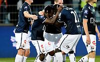 Fotball , 11. september 2015 ,   Eliteserien , Tippeligaen <br /> Strømsgodset - Haugesund 5-0<br /> Mohammed Abu , Godset , jubel scoring