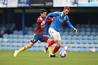 Football - 2020 / 2021 Sky Bet League One - Portsmouth vs. Ipswich Town - Fratton Park<br /> <br /> Portsmouth's Tom Naylor under pressure from Andre Dozzell of Ipswich Town during the League One fixture at Fratton Park <br /> <br /> COLORSPORT/SHAUN BOGGUST