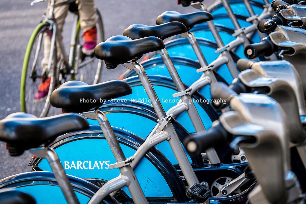 Boris Bikes or Barclays Cycle Hire Scheme, London, Britain - 06-09-2013.