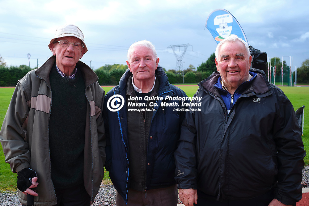 19/10/2019, Official opening of Dunboyne AC Track & facility<br /> Pictured at the opening were L-R, Paddy Reilly (St Andrews AC), Sean Conroy & Noel Leonard (Dunboyne AC)<br /> Photo: David Mullen / www.quirke.ie ©John Quirke Photography, Unit 17, Blackcastle Shopping Cte. Navan. Co. Meath. 046-9079044 / 087-2579454.<br /> ISO: 400; Shutter: 1/250; Aperture: 6.4; <br /> File Size: 55.2MB