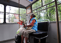 Electric street trams are still in service in many areas of St. Petersburg, Russia, a great convenience for commuters.