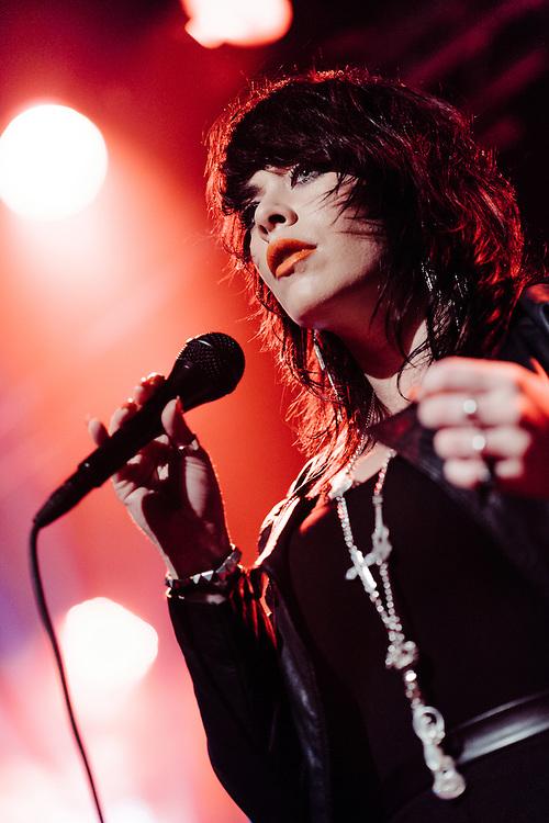 Alex Hepburn performing live at the Den Atelier concert venue in Luxembourg, Europe on October 23, 2013