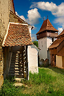 The Szekly medieval fortified church of Viscri, Buneşti, Braşov, Transylvania. Started in the 1100's. UNESCO World Heritage Site .<br /> <br /> Visit our ROMANIA HISTORIC PLACXES PHOTO COLLECTIONS for more photos to download or buy as wall art prints https://funkystock.photoshelter.com/gallery-collection/Pictures-Images-of-Romania-Photos-of-Romanian-Historic-Landmark-Sites/C00001TITiQwAdS8<br /> .<br /> Visit our MEDIEVAL PHOTO COLLECTIONS for more   photos  to download or buy as prints https://funkystock.photoshelter.com/gallery-collection/Medieval-Middle-Ages-Historic-Places-Arcaeological-Sites-Pictures-Images-of/C0000B5ZA54_WD0s