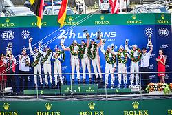 June 17, 2018 - Le Mans, France - 92 PORSCHE GT TEAM (DEU) PORSCHE 911 RSR GTE PRO MICHAEL CHRISTENSEN (DNK) KEVIN ESTRE (FRA) LAURENS VANTHOOR (BEL) WINNER GTE PRO.#91 PORSCHE GT TEAM (DEU) PORSCHE 911 RSR GTE PRO RICHARD LIETZ (AUT) GIANMARIA BRUNI (ITA) FREDERIC MAKOWIECKI (FRA) SECOND GTE PRO.#68 FORD CHIP GANASSI TEAM USA (USA) FORD GT GTE PRO JOEY HAND (USA) DIRK MUELLER (DEU) SEBASTIEN BOURDAIS (FRA) THIRD GTE PRO (Credit Image: © Panoramic via ZUMA Press)
