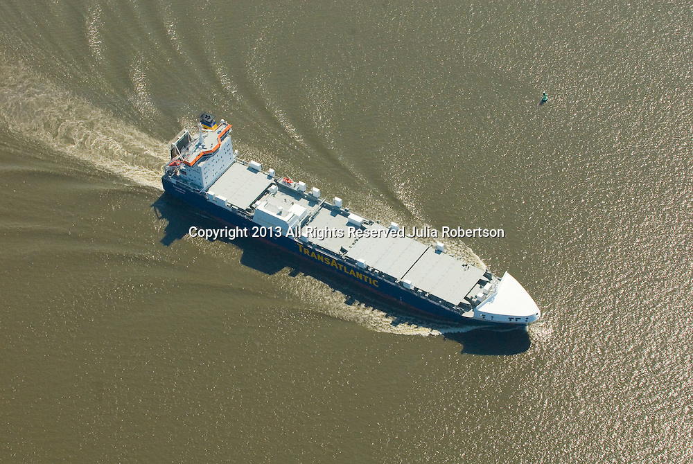 Aerial view of Transatlantic Shipping Tanker outside Wilmington Delaware