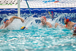 Eelco Wagenaar, Jesse Koopman of the Netherlands in action against Croatia during the Olympic qualifying tournament. The Dutch water polo players are on the hunt for a starting ticket for the Olympic Games on February 15, 2021 in Rotterdam