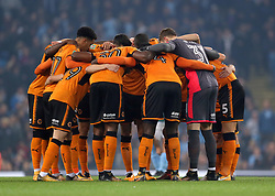 Wolverhampton Wanderers have a team huddle before the game