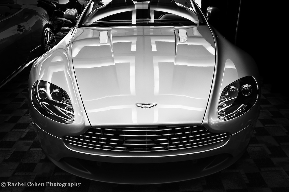 """""""Aston Martin"""" - B&W<br /> <br /> A beautiful black and white image of a classy Aston Martin!!<br /> <br /> Cars and their Details by Rachel Cohen"""