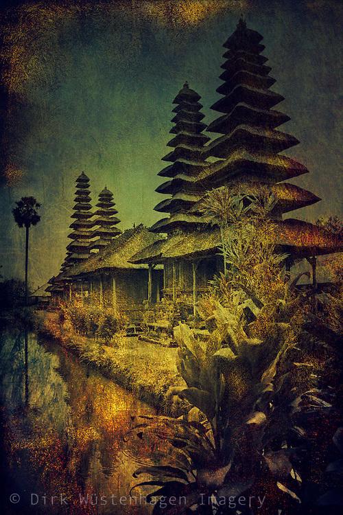 Pura Taman Ayun, Bali, Indonesia - a romantic transfiguration<br /> Textured photograph.