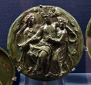 Bronze folding mirror with relief representation of Aphrodite sitting on a rock and Eros standing.