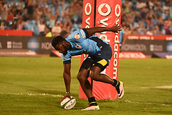 Jambo Ulengo scores a try during the Currie Cup Premier Division match between the Blue Bulls and The Griquas held at Loftus Versfeld stadium, Pretoria, South Africa on the 16th September 2016<br /> <br /> Photo by:   Real Time Images