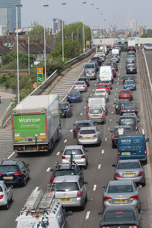 © Licensed to London News Pictures. 05/05/2014. Traffic queing at the Blackwall Tunnel in south east London on Bank Holiday Monday. Credit : Rob Powell/LNP