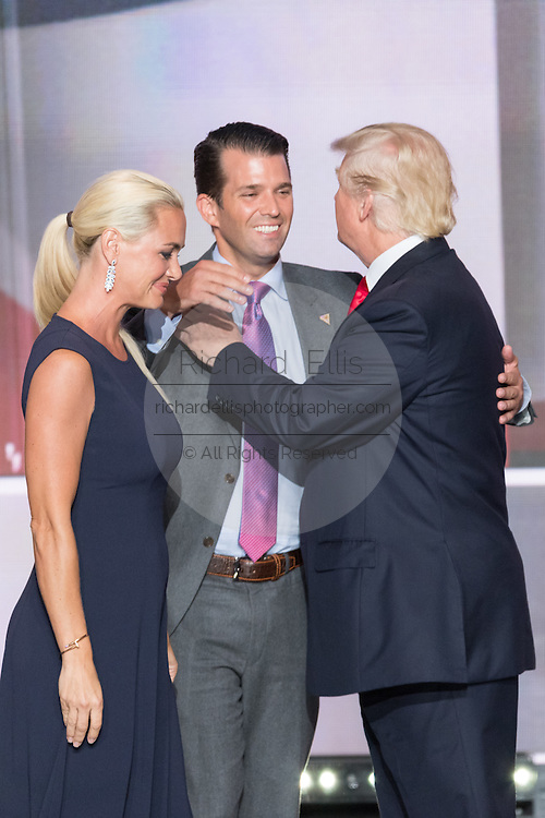 GOP Presidential candidate Donald Trump greets son Don and daughter-in-law Vanessa Trump after accepting the party nomination for president on the final day of the Republican National Convention July 21, 2016 in Cleveland, Ohio.