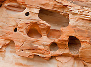 Holes erode in sandstone of the White Domes area in Valley of Fire State Park, Nevada, USA. Starting more than 150 million years ago, great shifting sand dunes during the age of dinosaurs were compressed, uplifting, faulted, and eroded to form the park's fiery red sandstone formations. The park adjoins Lake Mead National Recreation Area at the Virgin River confluence, at an elevation of 2000 to 2600 feet (610-790 m), 50 miles (80 km) northeast of Las Vegas, USA. Park entry from Interstate 15 passes through the Moapa Indian Reservation.